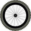 Stock Vector: Bike wheel with tire and spokes isolated on white