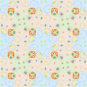 Set of elements - owls, birds, gift boxes. Seamless background — ストックベクタ