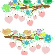 Royalty-Free Stock Vector Image: The bird sings sitting on tree branch with love heart