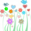 Royalty-Free Stock Vector Image: Background with cute birds and flowers