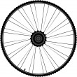 Bike wheel with spokes and tire isolated on white background — Stock Vector