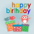 Cute owl, birds and gift boxes - happy birthday card — Stock Vector