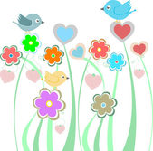 Background with cute birds and flowers — Stock Vector