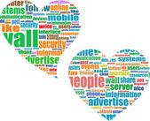 Social media theme in heart set — Stock Vector