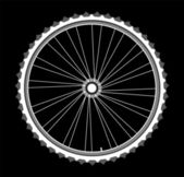 White bicycle wheels on black background — Stock Vector