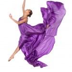 Ballet dancer in flying satin dress — Stock Photo #12125565