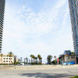 Panoramic of the Marina street with towers to the fund — Stock Photo