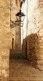 Alley with perron of the ancient Girona — Stock Photo