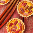 Rhubarb & saffron cream tart — Stock Photo
