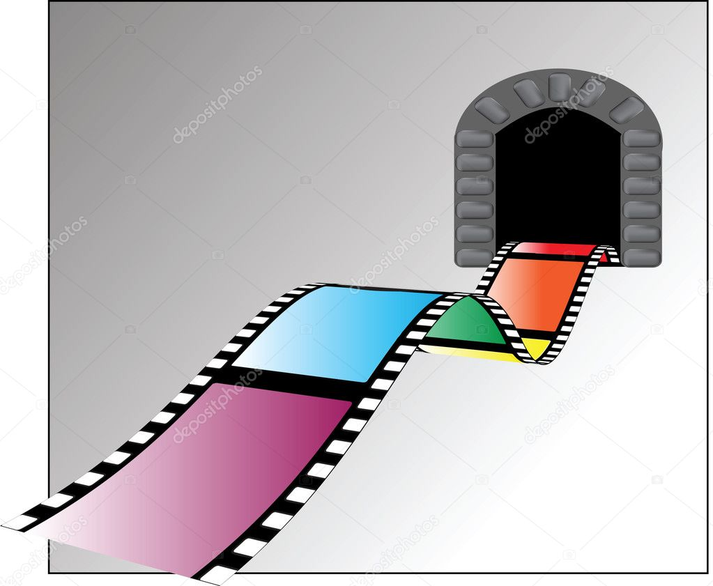 Film disappears into the dark color vector illustration — Stock Vector #11848851