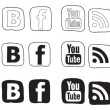 Stock Vector: Social media icon black and white