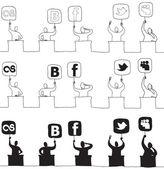 Giudicare con l'icona di rete — Vettoriale Stock