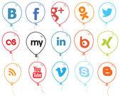 Social Network Logo Balloons Color — Stock Vector