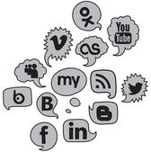 Social logo voice grey set — Stock Vector