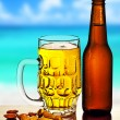 Cold beer on the beach - Stock Photo