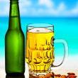 Cold beer on the beach — Stock Photo #10763603