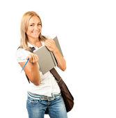 šťastný mladý student dívka — Stock fotografie