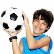 Cute boy playing football - ストック写真