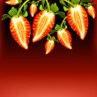 Fresh strawberries border - Stock Photo