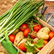 Farmer carrying chest of vegetables — Stock Photo