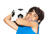 Cute boy playing football — Stock Photo