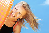 Happy surfer beautiful teen girl — Stock Photo
