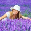 Pretty woman on lavender field — Stock Photo #11929856