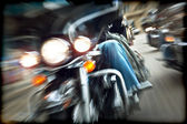 Abstract slow motion, bikers riding motorbikes — Photo