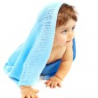 Sweet little baby boy covered blue towel — Stock Photo