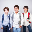 Stock Photo: Three happy schoolboys
