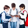 Three cute schoolboys read books — Stock Photo