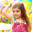 Closeup portrait of playful sweet small female child — Stock Photo