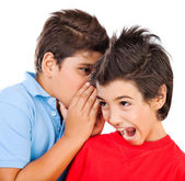 Excited gossip boys — Stock Photo