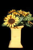 Yellow vases made ​​of clay painted with flowers — Stock Photo
