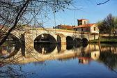 Roman bridge on Arlanza river in the Puentedura town. Castilla - — Stock Photo