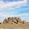 Straw bales left in a dry field - Stock Photo