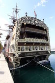 Historic and famous stern of the Spanish galleon Santisima Trini — Stock Photo