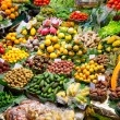 Barcelona Boqueria market fruits display - Stock Photo