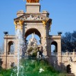 Barcelona ciudadela park lake fountain and quadriga - 图库照片