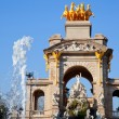 Barcelona ciudadela park lake fountain and quadriga - Stock Photo