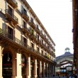 Barcelona Borne market facade in arcade - Stock Photo