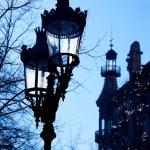 Barcelona Rambla Catalunya streetlights backligth — Stock Photo #10817653