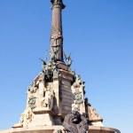 ������, ������: Barcelona Cristobal Colon statue on blue sky