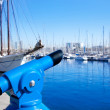 Barcelona port marina with blue telescope — Stock Photo