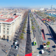Aerial panoramic Barcelona view Port Passeig Colon - Stock Photo