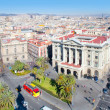 Aerial Barcelona view with Ramblas and Colon — Stock Photo