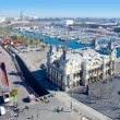 Aerial Barcelona port marina view in passeig Colon - Stock Photo