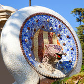 Barcelona Park Guell of Gaudi mosaic Snake — Stock Photo