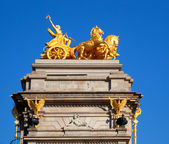 Barcelona ciudadela park Aurora golden quadriga — Stock Photo
