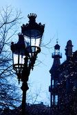 Barcelona Rambla Catalunya streetlights backligth — Stock Photo